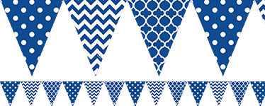 Royal Blue Polka Dot & Chevron Bunting - 4m