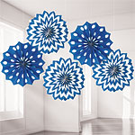 Royal Blue Polka Dot & Chevron Paper Fan Decorations - 20cm