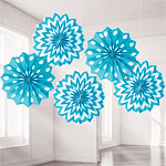 Turquoise Polka Dot & Chevron Paper Fan Decorations - 20cm