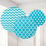 Turquoise Polka Dot & Chevron Paper Lantern Decorations