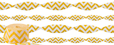 Yellow Chevron Crepe Streamer - 24m