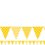 Yellow Polka Dot & Chevron Plastic Bunting - 3.65m