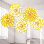 Yellow Polka Dot & Chevron Paper Fan Decorations - 20cm