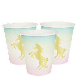 We Heart Unicorn Cups with Foil Detail - 250ml Paper Cups