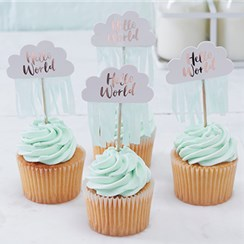 Hello World Rose Gold Cupcake Picks - 6cm