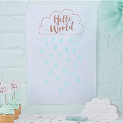Hello World Rose Gold Fingerprint Guest Book - 42cm