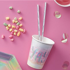 Iridescent Party Foiled Cups - 255ml Paper Party Cups