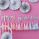 Iridescent Party Happy Birthday Letter Bunting - 1.5m