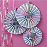 Iridescent Party Paper Fan Decorations - 38cm