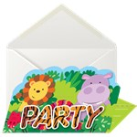 Animal Friends Stand Up Invite & Envelopes