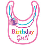 Rainbow 1st Birthday Girl Necklace Bib