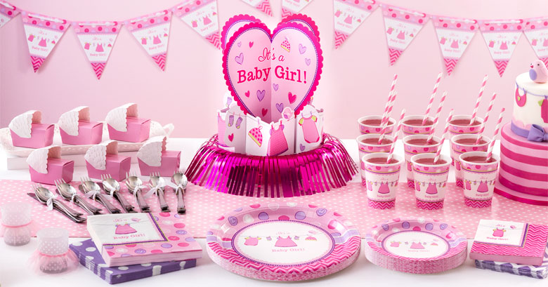 shower with love girl baby shower party supplies party. Black Bedroom Furniture Sets. Home Design Ideas