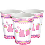 Girl's Shower With Love Cups - 256ml Paper Party Cups