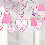 Girl's Shower With Love Hanging Swirls - 18cm