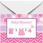 Girl's Shower With Love Invitations and Envelopes