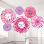 Girl's Shower With Love Paper Fans - 40cm