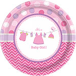 Girl's Shower With Love Plates - 26cm Paper Party Plates