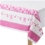 Girl's Shower With Love Plastic Tablecover