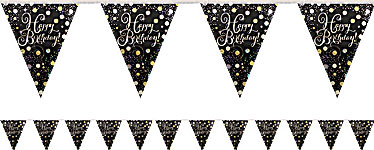 Gold Sparkling Celebration Happy Birthday Bunting - 4m