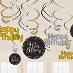 Gold Sparkling Celebration Happy Birthday Hanging Swirls - 45cm