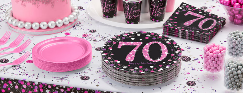 Pink Celebration 70th Birthday Party Supplies Party Delights