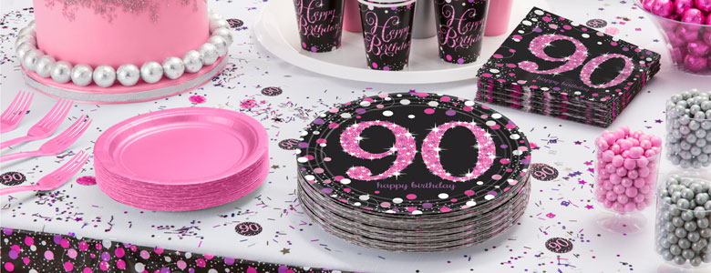 Pink Celebration 90th Party Supplies