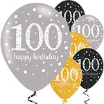 "Happy 100th Birthday Gold Mix Sparkling Celebration Balloons - 11"" Latex"