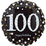 "Happy 100th Birthday Gold Sparkling Celebration Balloon - 18"" Foil"