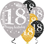 "Happy 18th Birthday Gold Mix Sparkling Celebration Balloons - 11"" Latex"