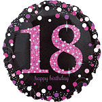 "Happy 18th Birthday Pink Sparkling Celebration Balloon - 18"" Foil"