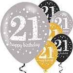"Happy 21st Birthday Gold Mix Sparkling Celebration Balloons - 11"" Latex"