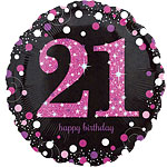 "Happy 21st Birthday Pink Sparkling Celebration Balloon - 18"" Foil"