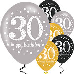 "Happy 30th Birthday Gold Mix Sparkling Celebration Balloons - 11"" Latex"