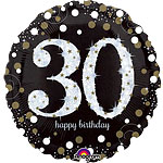 "Happy 30th Birthday Gold Sparkling Celebration Balloon - 18"" Foil"