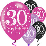 "Happy 30th Birthday Pink Mix Sparkling Celebration Balloons - 11"" Latex"