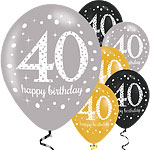 "Happy 40th Birthday Gold Mix Sparkling Celebration Balloons - 11"" Latex"