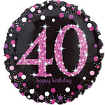 "Happy 40th Birthday Pink Sparkling Celebration Balloon - 18"" Foil"