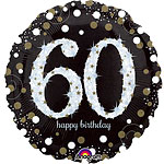 "Happy 60th Birthday Gold Sparkling Celebration Balloon - 18"" Foil"