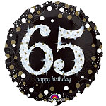 "Happy 65th Birthday Gold Sparkling Celebration Balloon - 18"" Foil"