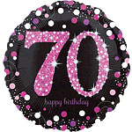 "Happy 70th Birthday Pink Sparkling Celebration Balloon - 18"" Foil"