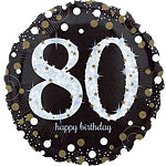 "Happy 80th Birthday Gold Sparkling Celebration Balloon - 18"" Foil"