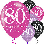 "Happy 80th Birthday Pink Mix Sparkling Celebration Balloons - 11"" Latex"