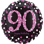 "Happy 90th Birthday Pink Sparkling Celebration Balloon - 18"" Foil"
