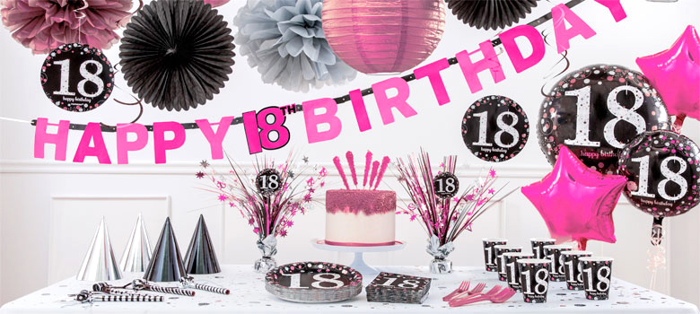 Pink celebration 18th birthday party supplies party delights for 18th party decoration ideas