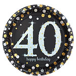 Sparkling Celebration Age 40 Plates - 23cm Paper Party Plates