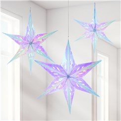 Iridescent Foil Star Decorations - 56cm