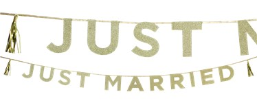 Just Married Gold Glitter Letter Banner - 3m