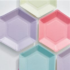 Pastel Mix Hexagonal Plates - 18cm Paper Party Plates