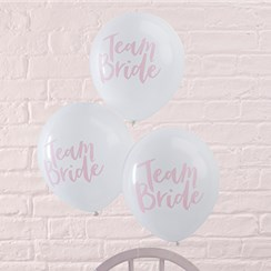 "Team Bride White & Pink Hen Party Balloons - 12"" Latex"