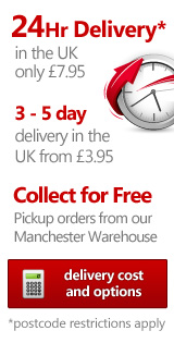 24Hr delivery in the UK for only £7.95, 3-5 day delivery in the UK from £3.95, Collect for free, Pick up orders from our Manchester Warehouse